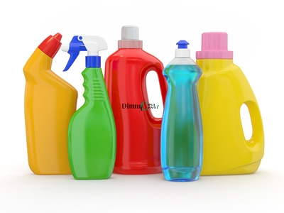 Different detergent bottles on white background