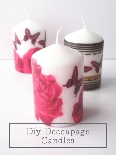candela decorata con decoupage