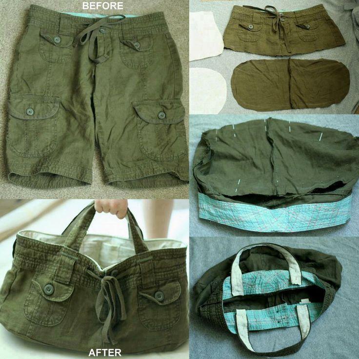 borsa realizzata con pantalone