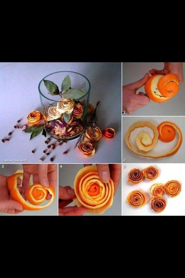 Rose fatte con buccia di agrumi essiccata