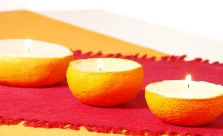 Porta-candele realizzato con la buccia della frutta