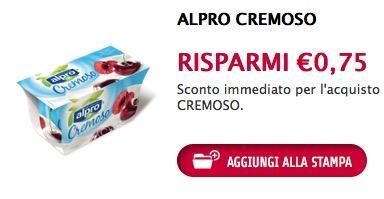 Buono sconto yogurt Alpro Cremoso