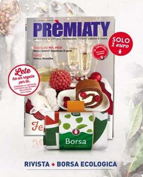 Rivista premiaty con shopper natalizia e buono omaggio Lete