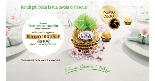 Premio certo Ferrero, buono digitale Interflora