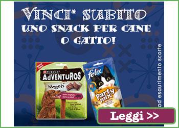 Vinci uno snack per cane o gatto con Purina
