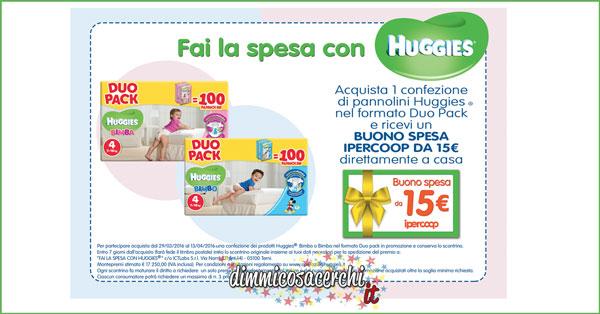 Huggies premio sicuro: buoni spesa Ipercoop da 15€