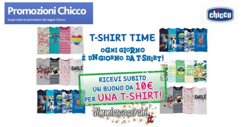 Promozione Chicco, 10€ in regalo per una T-shirt