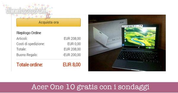 Acer One 10 gratis con i sondaggi