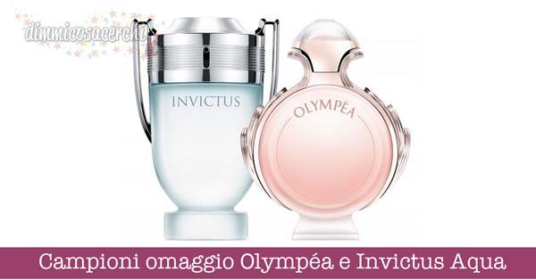 Campioni omaggio Olympéa e Invictus Aqua di Paco Rabanne