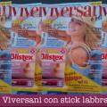 Rivista Viversani con stick labbra Blistex