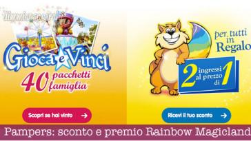 Pampers: sconto e premio Rainbow Magicland