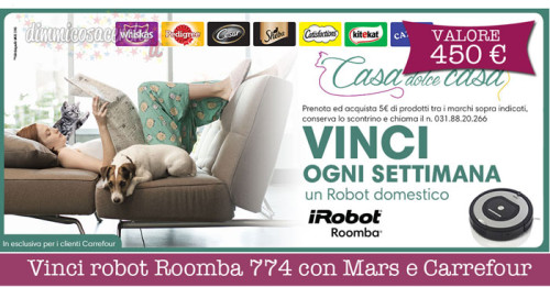 Vinci robot Roomba 774 con Mars e Carrefour
