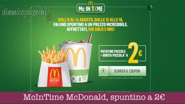 McInTime McDonald, spuntino a 2€