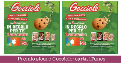Premio sicuro Gocciole: carta regalo iTunes da 5€