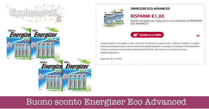 Buono sconto Energizer Eco Advanced