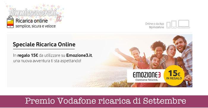 Premio Vodafone ricarica di Settembre