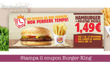 Coupon Burger King: patatine + panino solo 1,49€