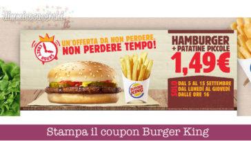 Coupon Burger King: patatine + panino solo 1,49€