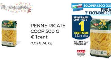 Confezione di pasta a 1 cent da UniCoop Tirreno