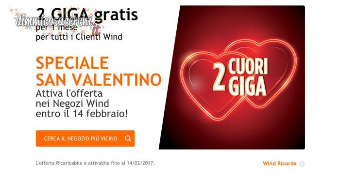 Wind regala 2 GIGA gratis per San Valentino