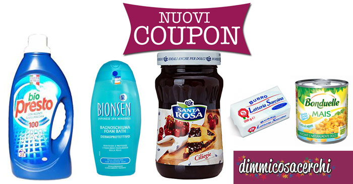 Coupon Biopresto, Bionsen, Soresina, Vergnano e Johnson's