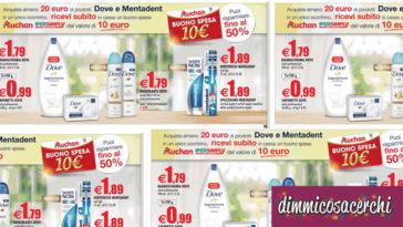 Buono spesa Auchan in regalo con Dove e Mentadent