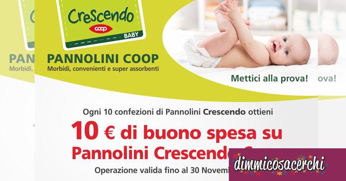 Buono spesa in regalo con i pannolini Crescendo Coop