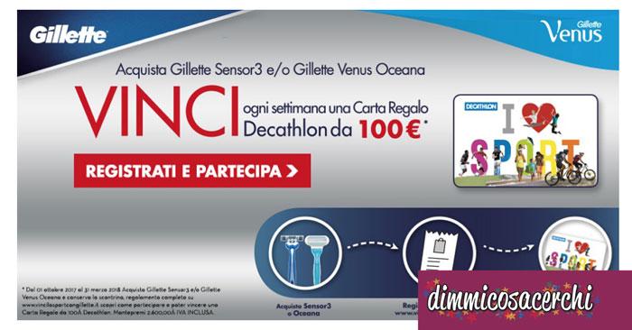 Vinci buoni Decathlon da 100€ con Gillette