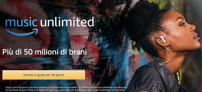 Prova gratis Amazon Music Unlimited