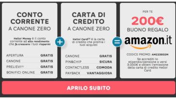 Hello Bank ti regala un buono Amazon da 200€