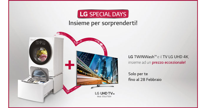 Lavatrice Lg Twinwash + Smart Tv abbinato