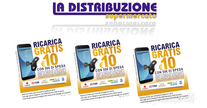 La Distribuzione Supermercato: ricarica telefonica omaggio per i clienti