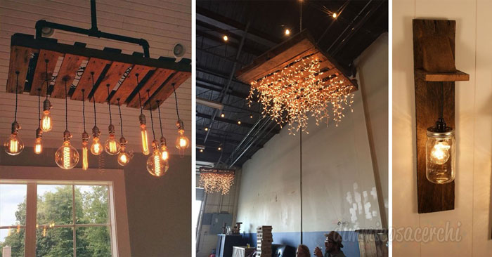 Fantastiche idee per realizzare un lampadario con i pallets