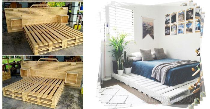 Letto Di Pallets : Realizzare un letto con i pallets idee da copiare con foto