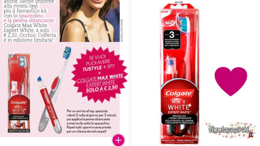Rivista Tustyle con spazzolino Colgate max white expert white allegato