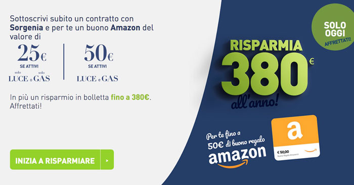 Sorgenia ti regala Amazon