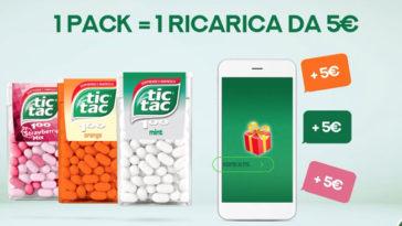 Tic Tac premio sicuro: per tutti una ricarica telefonica da 5€