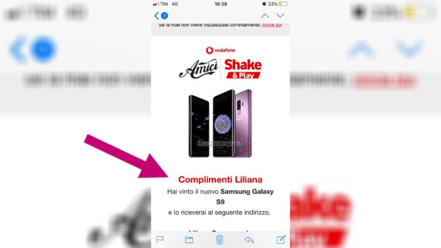 """Vinto Samsung Galaxy S9 con Vodafone """"Shake e Play"""""""