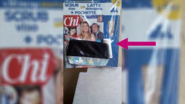 Rivista Chi con latte detergente, scrub viso e pochette