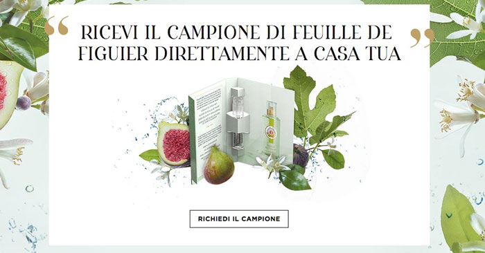 Campione omaggio profumo Feuille De Figuier di Roger Gallet (fialetta)