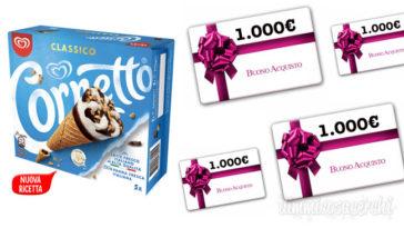 Concorso Cornetto: vinci 16 buoni da 1.000€ per Moda, Cultura e Cucina