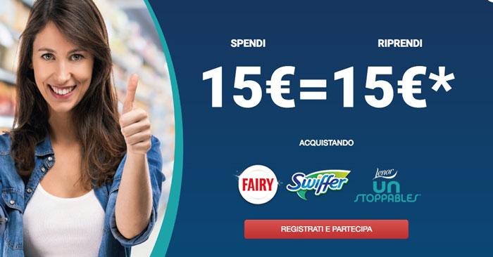 P&G ti premia: spendi 15€, ricevi 15€!