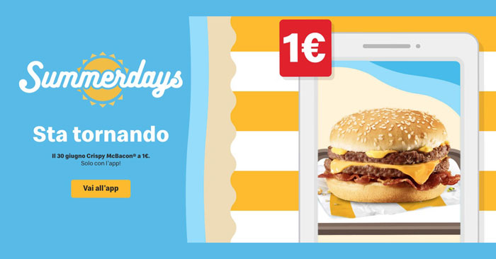 Summerdays McDonald's: Crispy McBacon a solo 1€