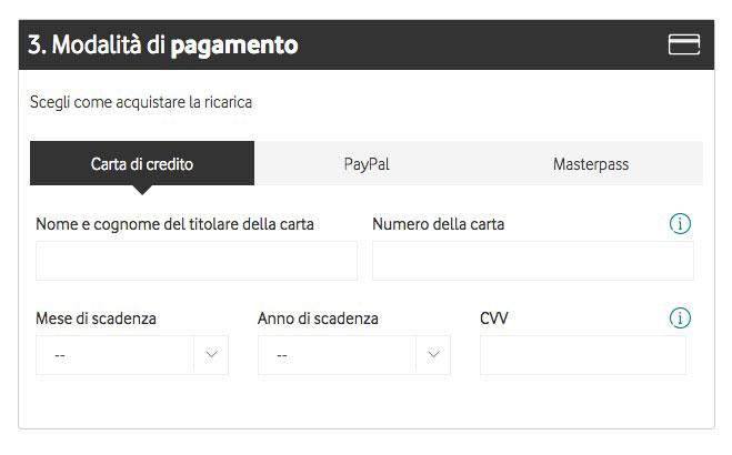 metodi di pagamento ricarica vodafone online