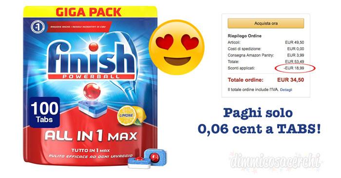 Detersivo lavastoviglie Finish ad un prezzo MAI VISTO!