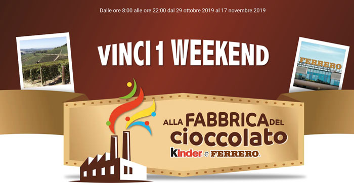 Vinci la Fabbrica del Cioccolato Kinder e Ferrero