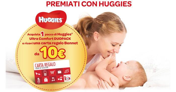 Premiati con Huggies: buono spesa Bennet da 10€ in regalo!
