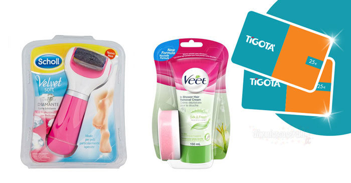 Vinci gift card Tigotà con Scholl, Veet e Durex