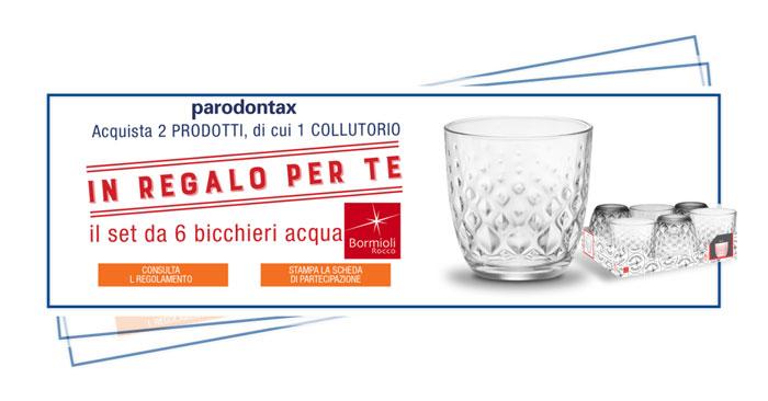 Bicchieri Bormioli rocco in regalo con Parodontax