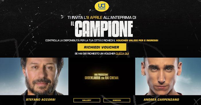 "Anteprima gratuita film ""Il campione"""